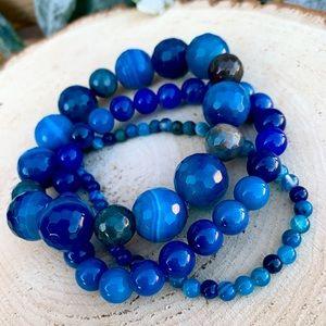 Natural Sea Blue Striped Agate Bracelet Stack!